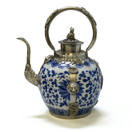 China Furniture and Arts Blue and White Porcelain Teapot, Tibetan Style with Bronze Accents Rare Chinese Blue White Porcelain
