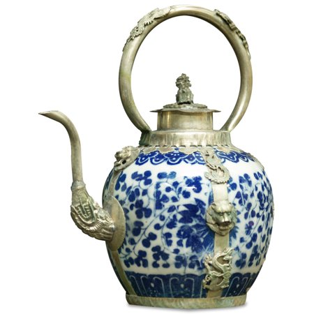 China Furniture and Arts porcelaine bleue et blanche Teapot, style tibétain avec Accents Bronze
