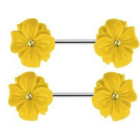 Nipple Shield Rings barbell barbells sold as a pair 14 gauge Blooming Flower CZ