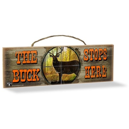 Wood Sign, The Buck Stops Here, Made in the USA By Advanced - Santa Stop Here Sign