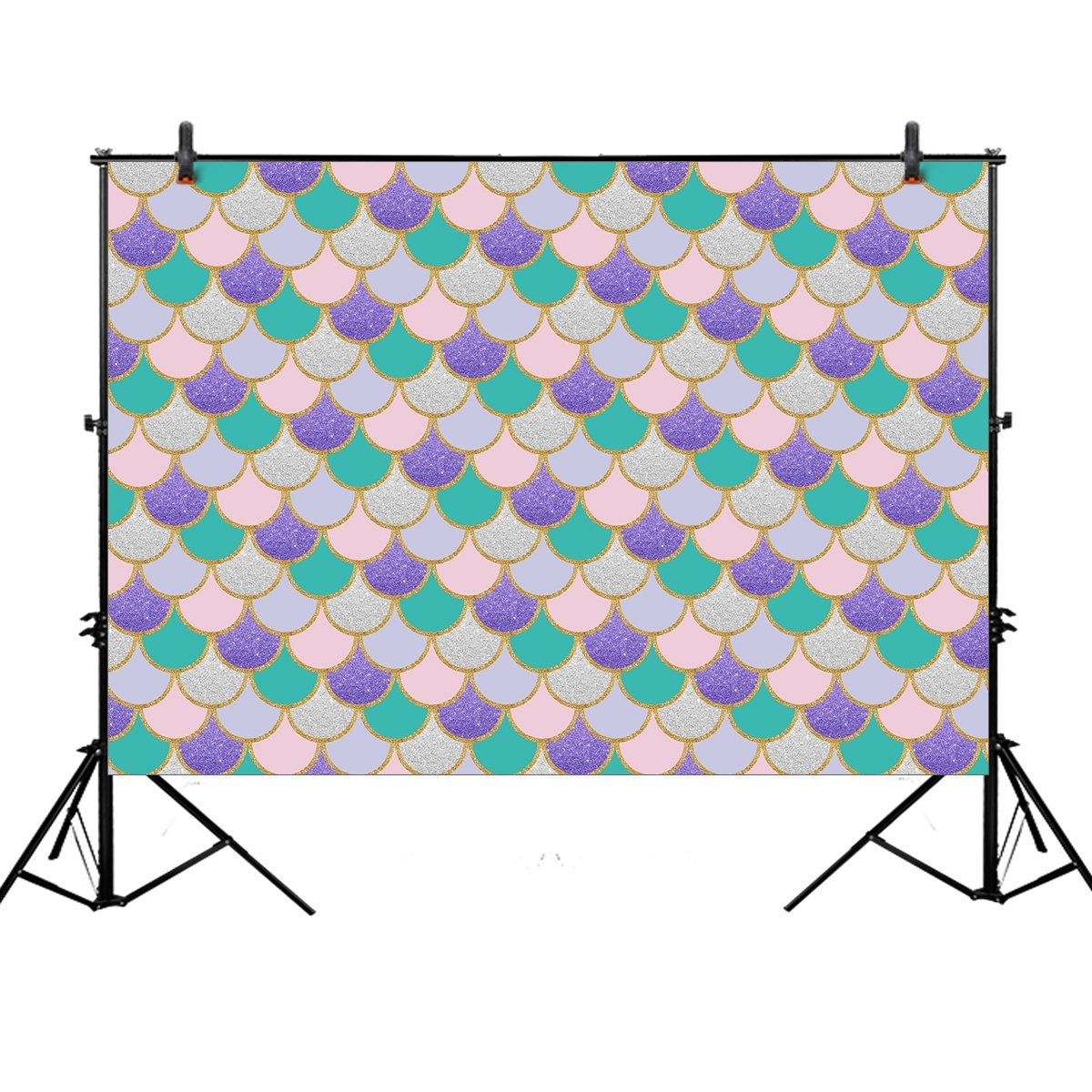 HelloDecor Polyster 7x5ft photography backdrop party princess Purple pink Mermaid Scales Glare Glitter Birthday party banner photo studio booth background newborn baby shower photocall