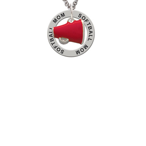 Small Red Megaphone Softball Mom Affirmation Ring Necklace