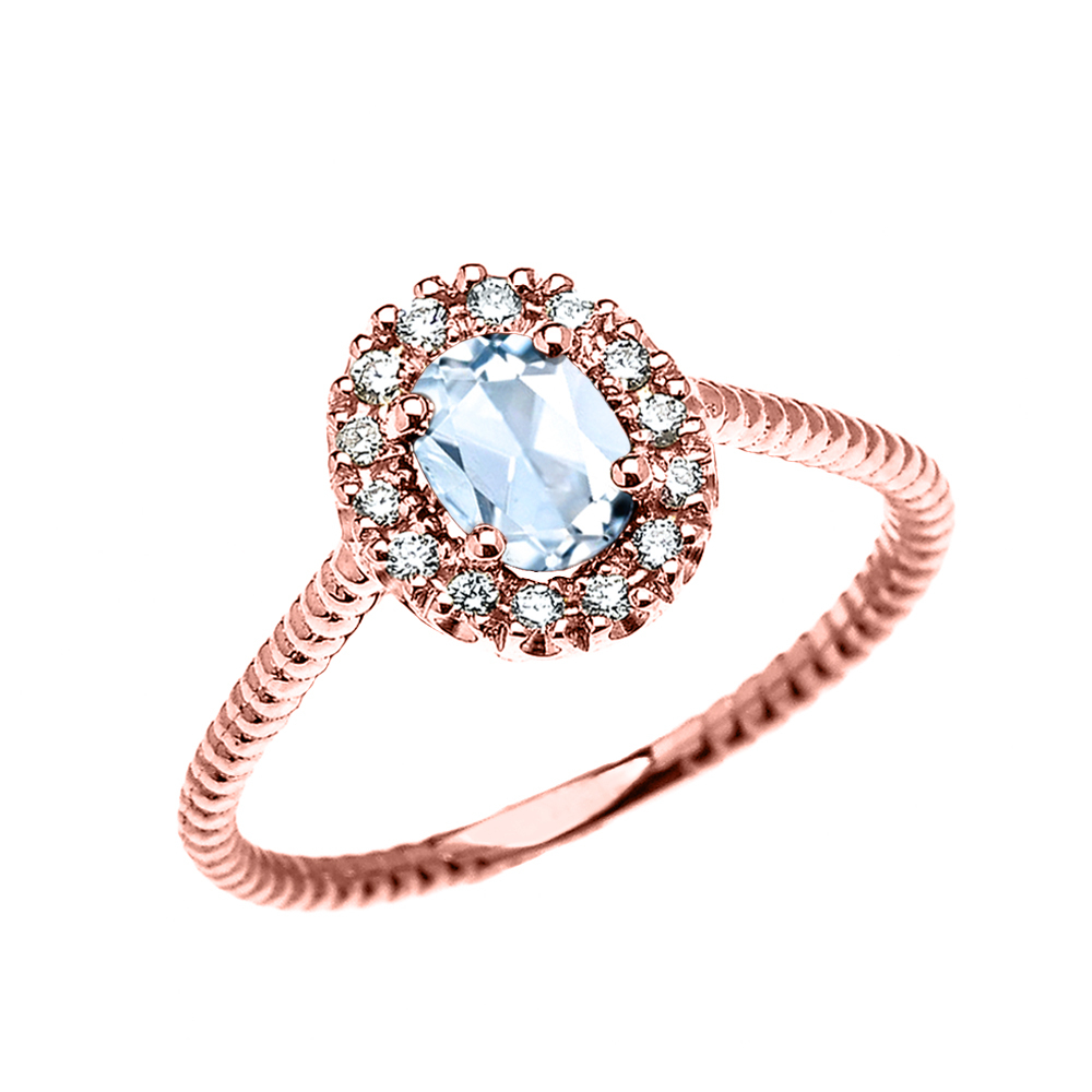 Rose Gold Dainty Halo Diamond and Oval Aquamarine Solitaire Rope Design Engagement Promise Ring by