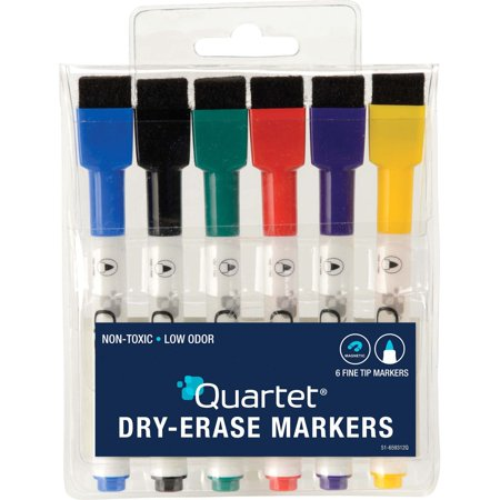 Quartet ReWritables Mini Dry-Erase Markers, Magnetic, Assorted Classic Colors, 6 Pack (51-659312Q) (Mini Dry Erase Erasers)