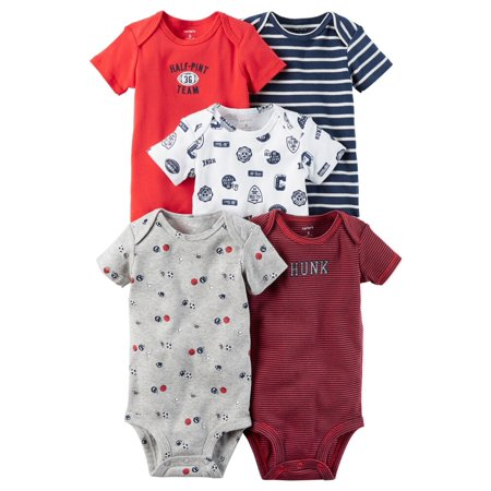 Carters Baby Boys 5-Pack Short-Sleeve Original Bodysuits Sports Hunk Multi