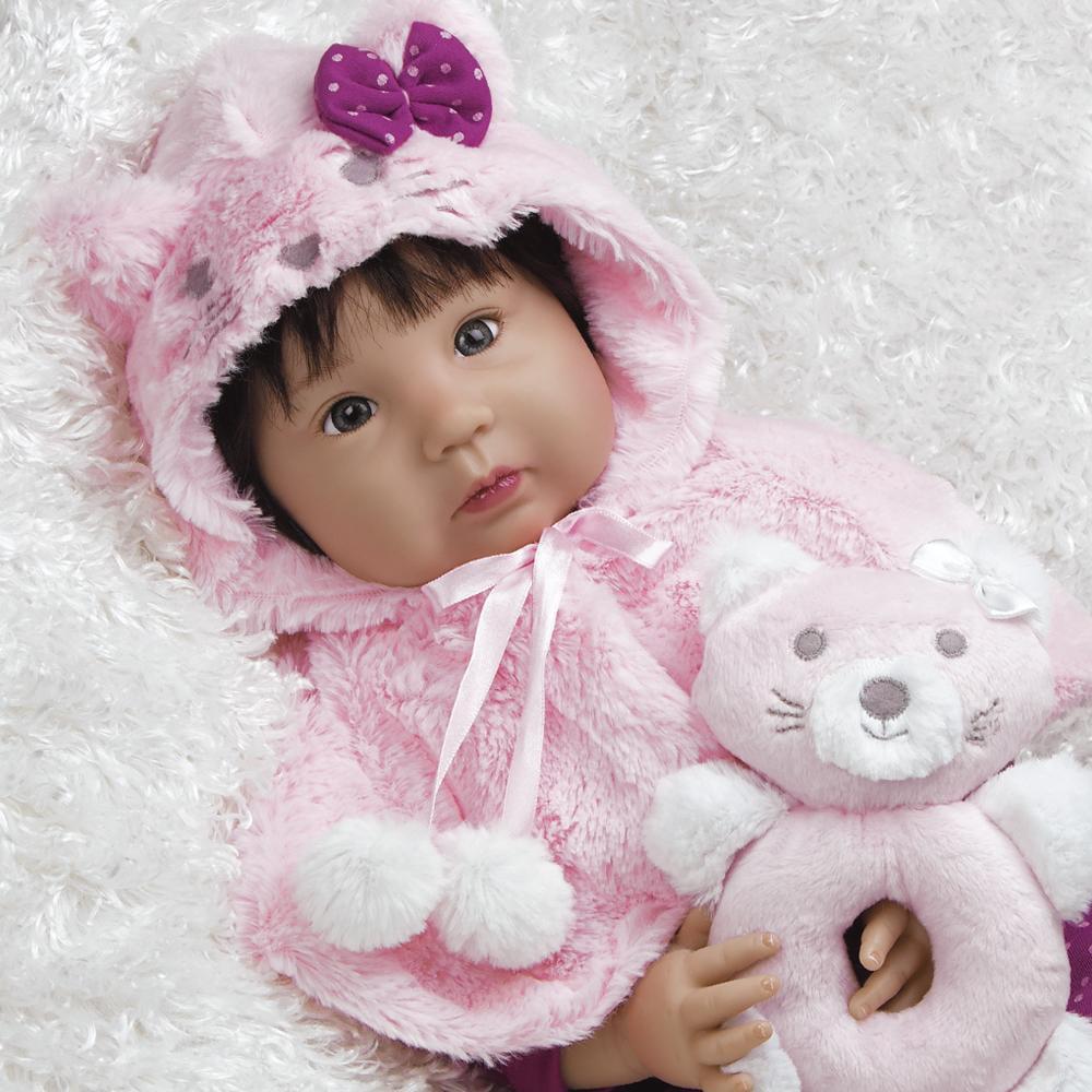 Paradise Galleries Realistic Asian Baby Doll, 20 inch Ethnic Reborn Girl Smitten Kitten, in GentleTouch Vinyl, 4-Piece Set
