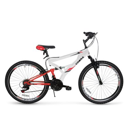 AKONZA Fast 21-Speed Full Suspension Steel Cobra Mountain Bicycle 26-Inch Exercise Workout Equipment,