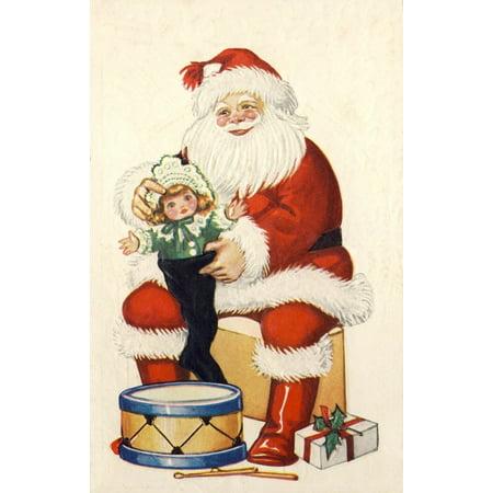 Christmas card Santa with doll & drum c1922 Canvas Art -  (24 x 36)