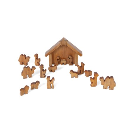 Wooden Toy Nativity Scene with Animals (Nativity Animals)