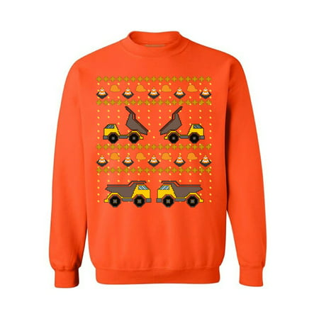 Awkward Styles Christmas Construction Truck Sweatshirt Xmas Truck Ugly Christmas Sweater Funny Christmas Gifts Holiday Party Outfit Xmas Gifts for Truck Fans Truck Accessories Toy Truck Xmas Sweater
