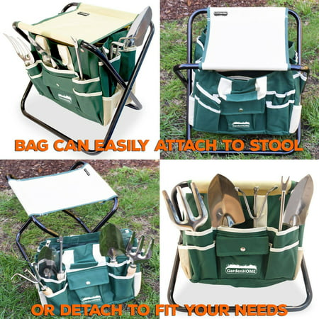 7-Piece Gardening Tool Kit with Garden Tools Bag and a Foldable Stool for Man and Woman