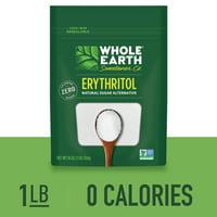 WHOLE EARTH SWEETENER 100% Organic Erythritol Sweetener, 1 Pound Bag, Keto Sweetener, Natural* Sugar Alternative, Baking Sugar Substitute, Zero Calorie Sweetener, Gluten Free, Non-GMO