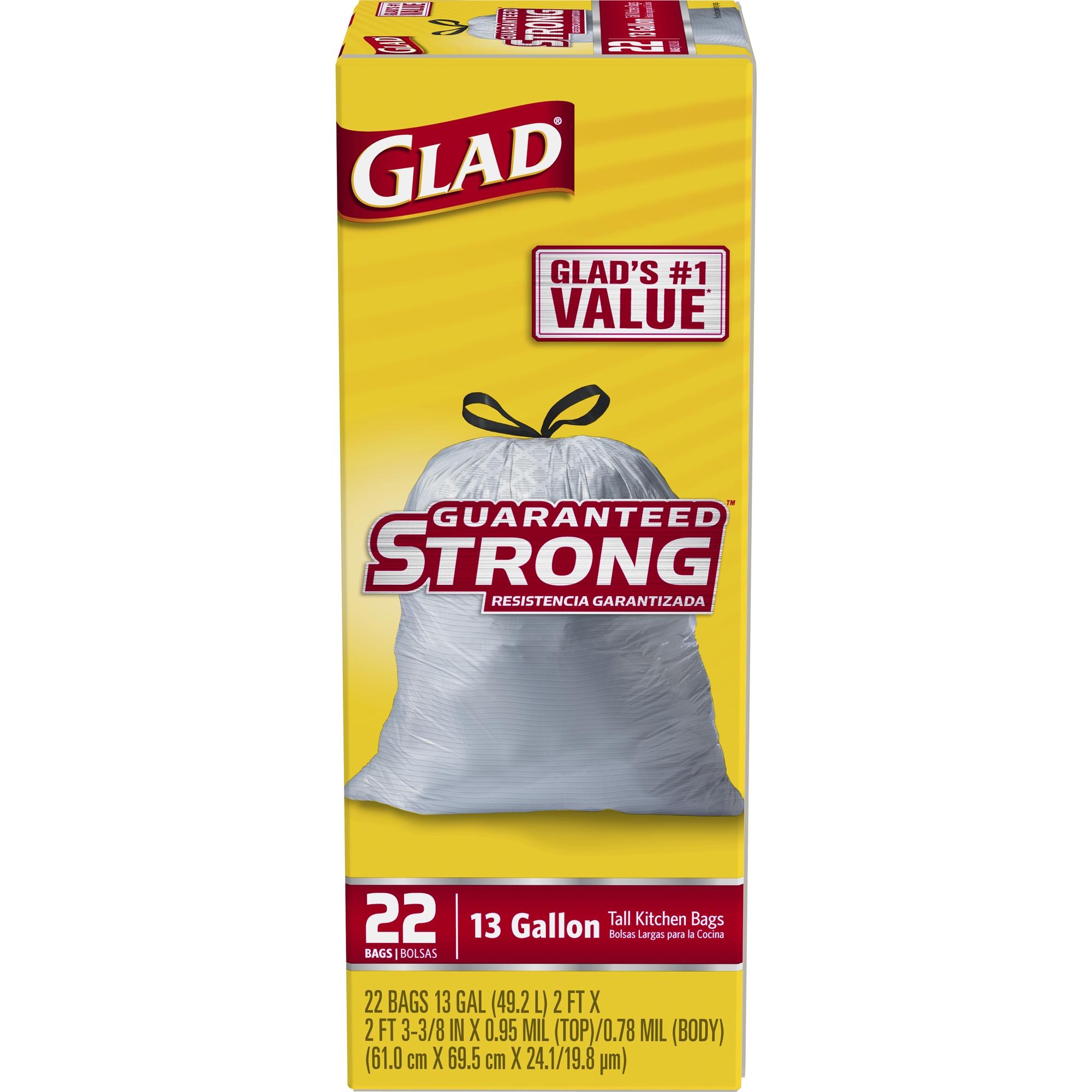 Tall Kitchen Trash Bags | Glad Tall Kitchen Quick Tie Trash Bags 13 Gallon 80 Ct Walmart Com