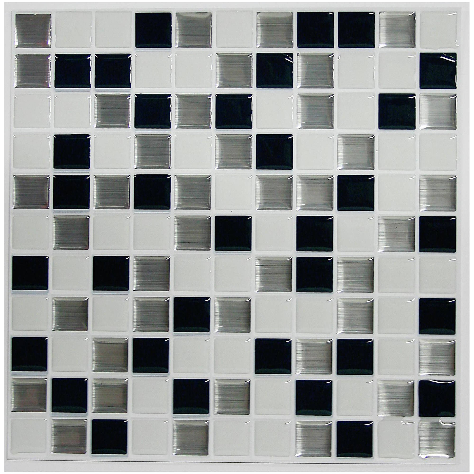 RoomMates Black and White Mosaic StickTILES, 4-Pack