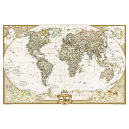 National Geographic - World Executive Map, Enlarged & Laminated Poster Poster  B