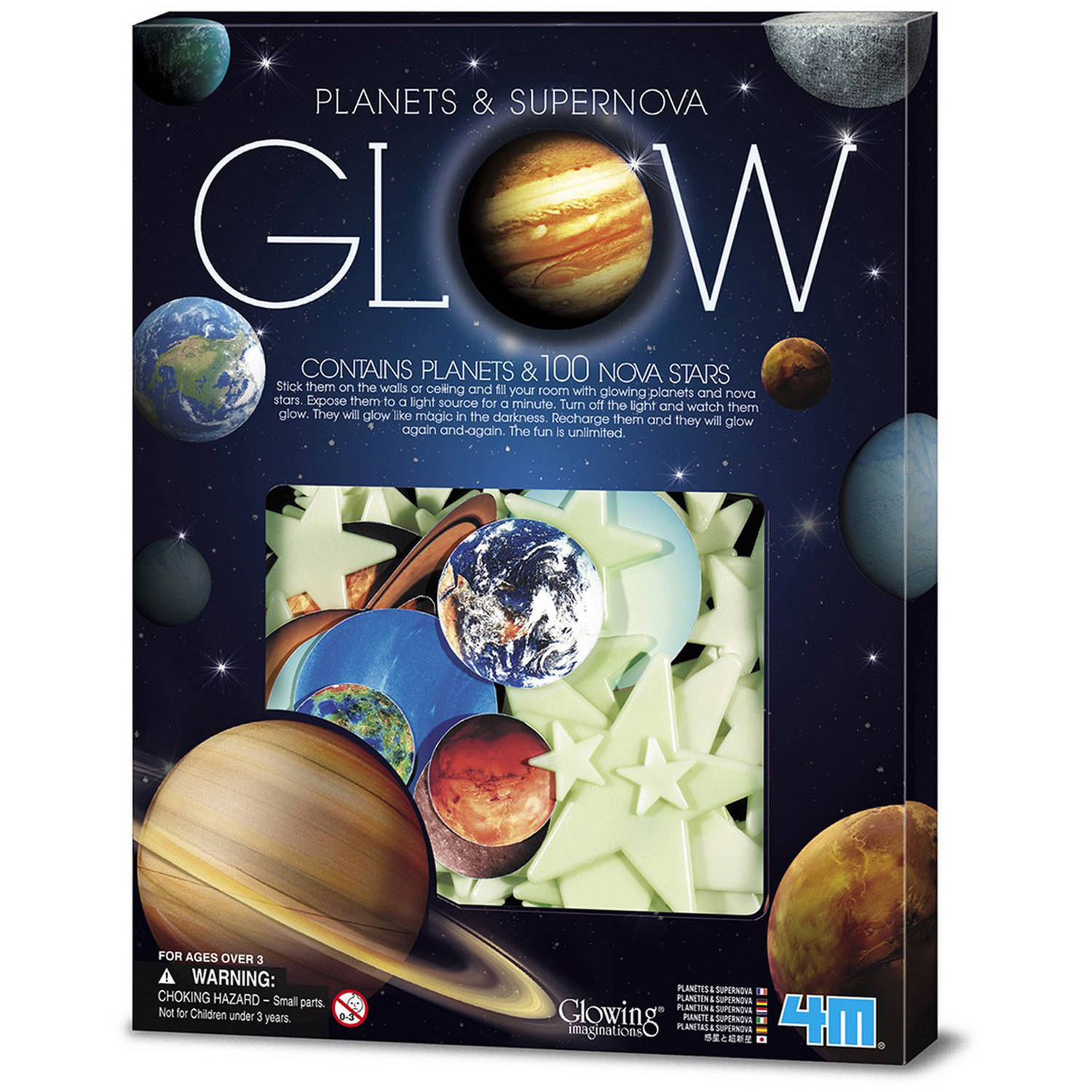 4M Glow-In-The-Dark Planets and Supernova Stars Wall and Ceiling Stick-ons