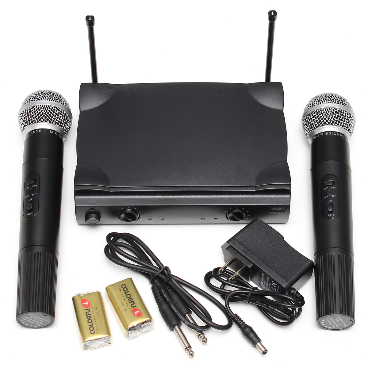 Pro Dual Wireless Microphone System VHF With Handheld Cordless UT4 Type MIC Set For Conference, Church, School, Hall, Family, Party