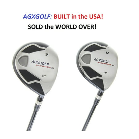 AGXGOLF Men's MAGNUM 7 + 9 Fairway Utility Woods Set: Graphite Shafts + Head Covers Left Hand, Senior Flex, 2X-Tall Length (+2.0