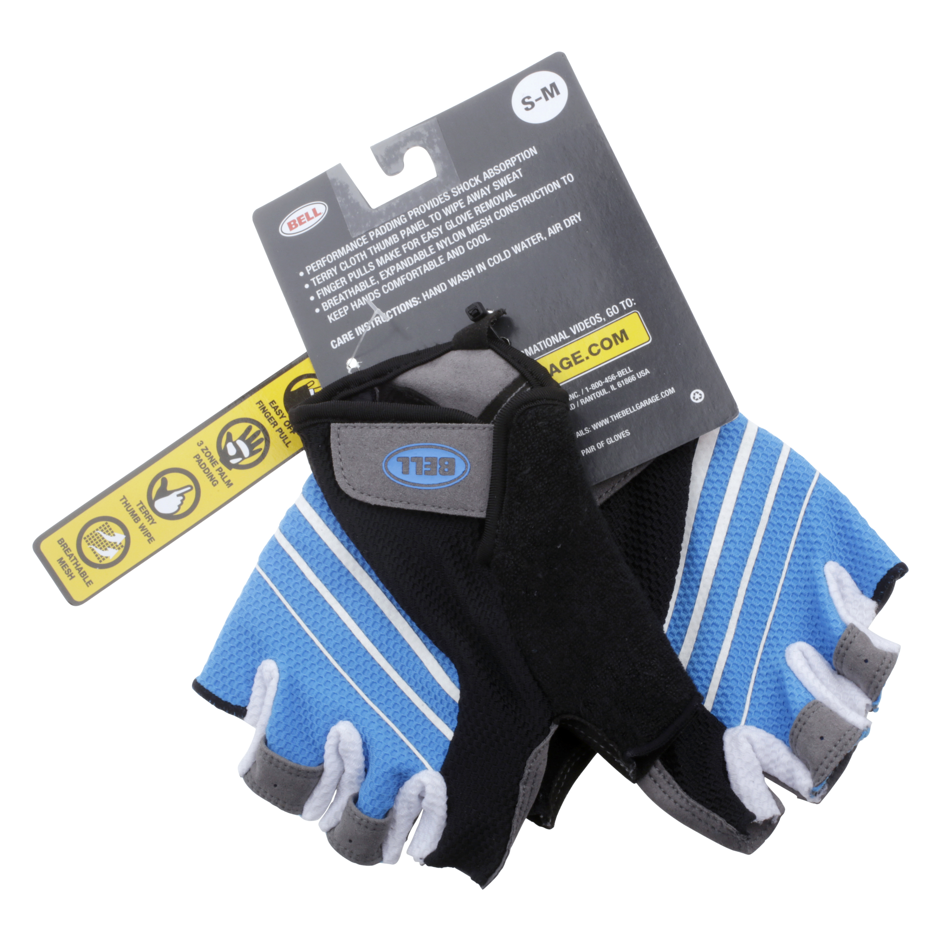 Bell Ramble 500 Half-Finger Performance Cycling Gloves, Blue/White, Small/Medium