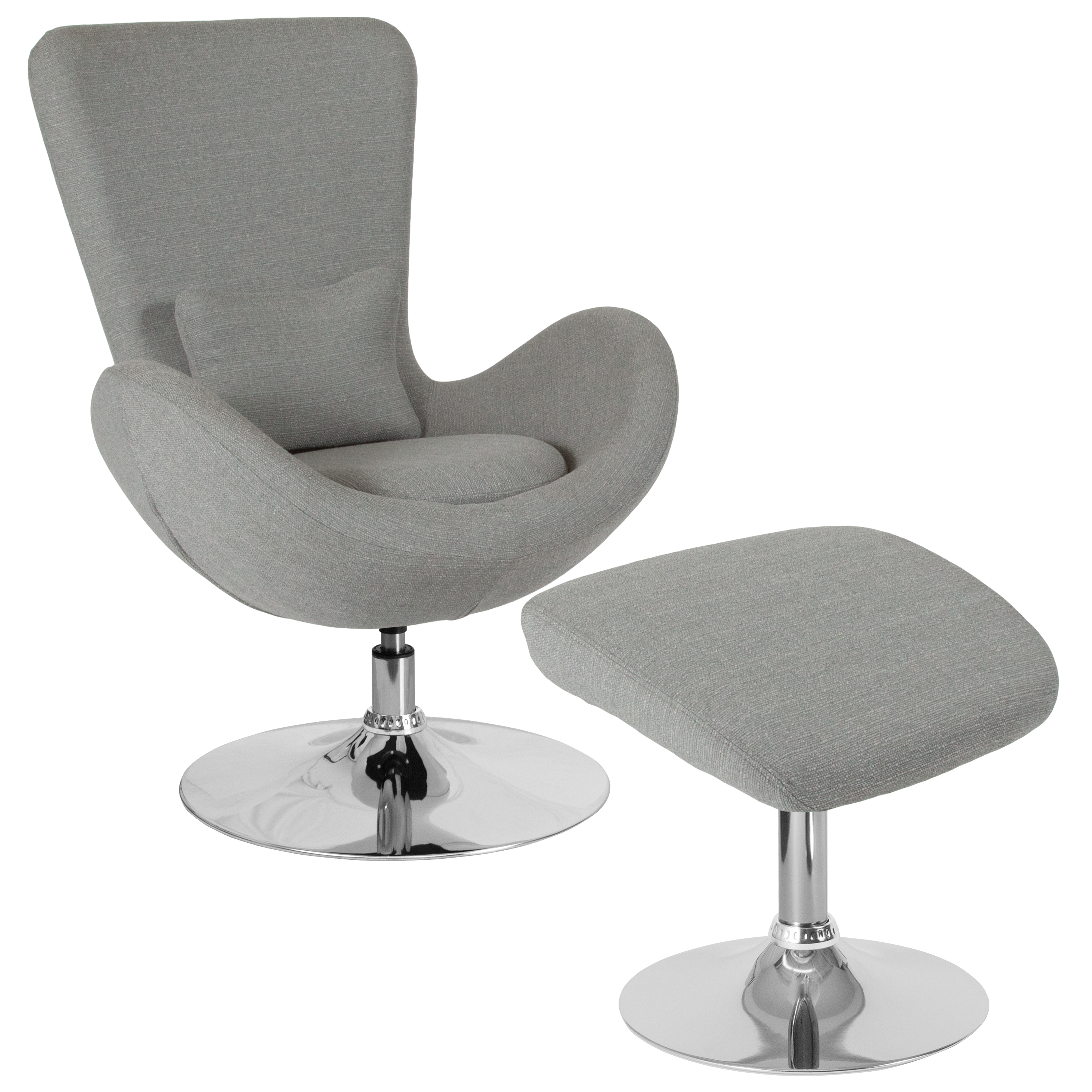 Flash Furniture Egg Series Aqua Fabric Side Reception Chair with Ottoman