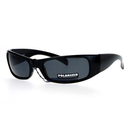 SA106 Polarized Anti-Glare Mens Narrow Rectangular Warp Biker Sunglasses All Black ()