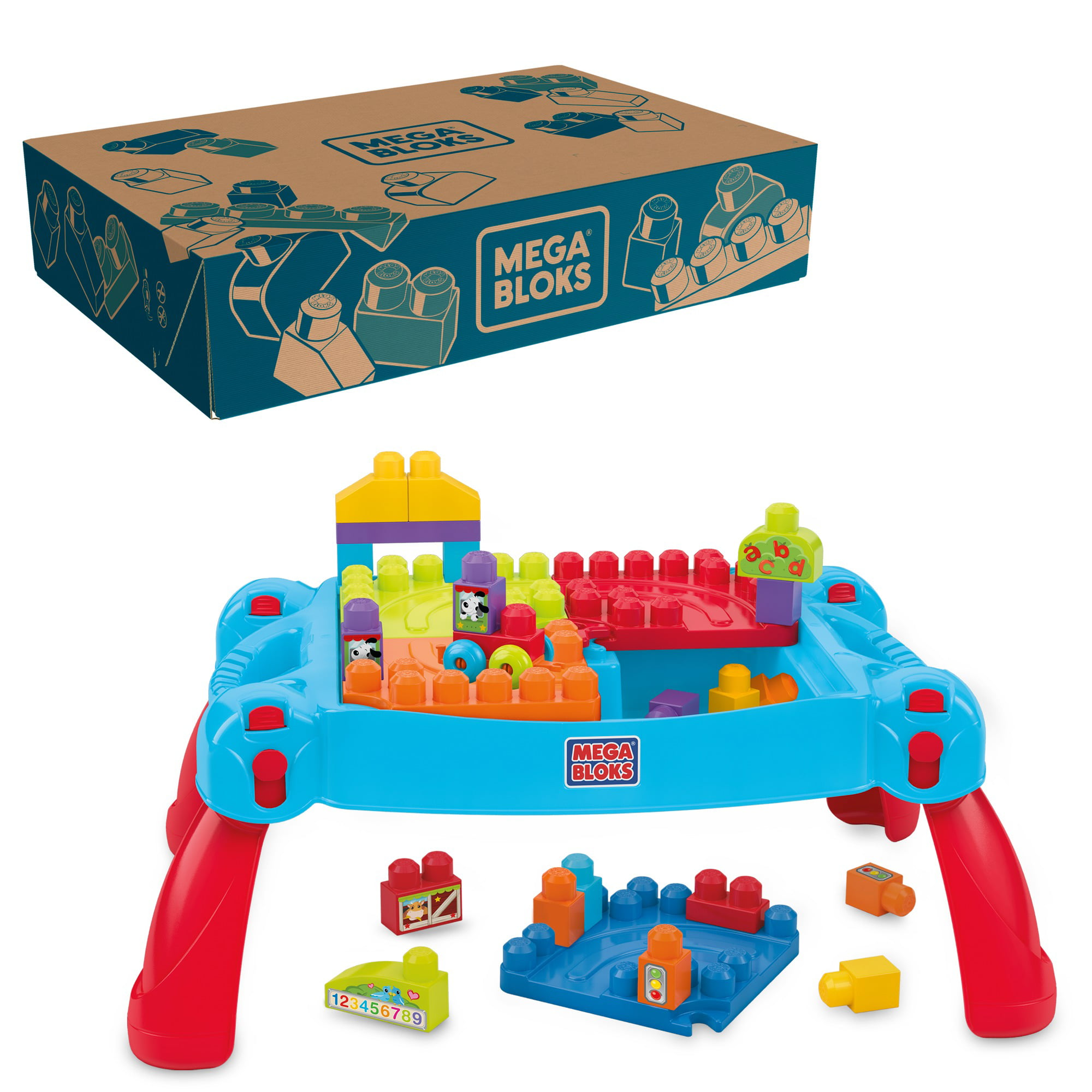 Mega Bloks First Builders Build 'n Learn Table with Big ...