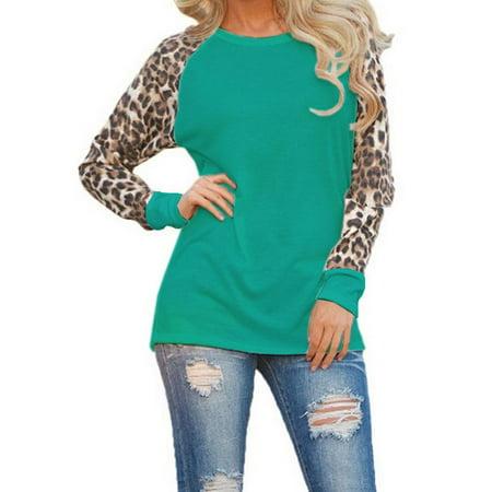 Freshlook Women Long Sleeve Leopard Cotton Casual Long Tops Shirt