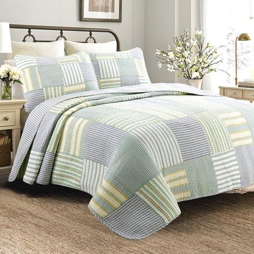 Cozy Line Home Fashion Spa Striped Patchwork Quilt Set
