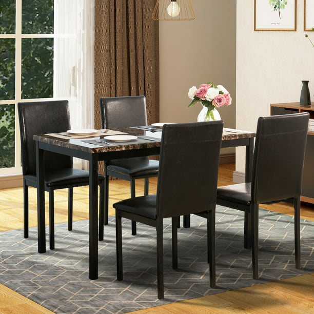 Harper & Bright Designs 5-Piece Faux Marble and PU Leather Dining Set, Black