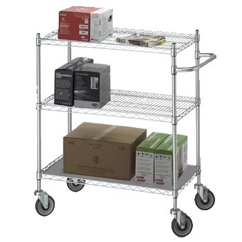 R&B Wire Products UC2436SOL Linen Cart 24x36x42 w/Solid Bottom 16 gauge Chrome Plated Shelf