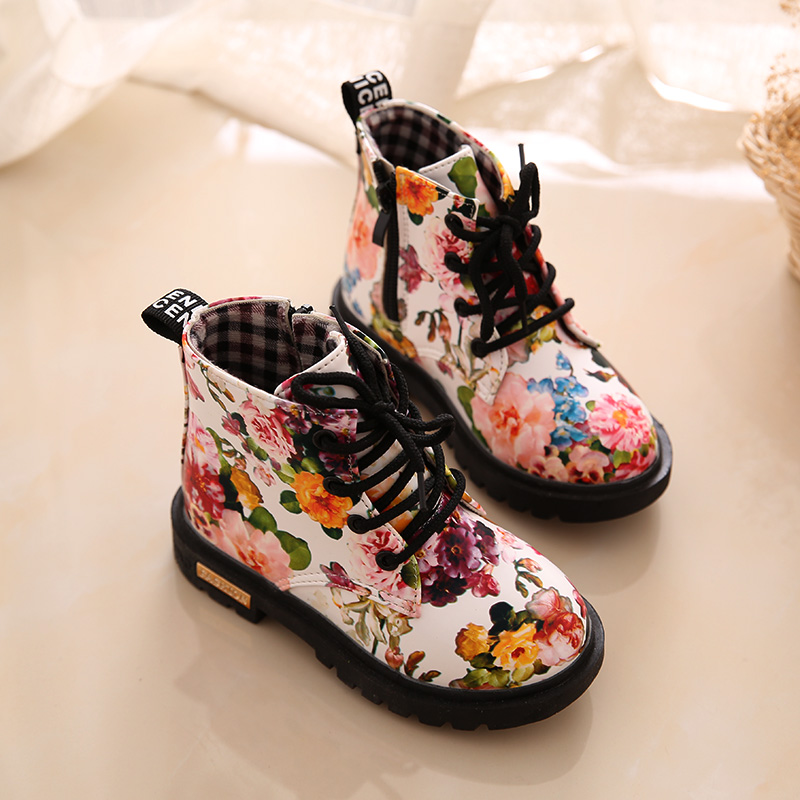 Girls Floral Lace Up Martin Casual Snow Boots Children Ankle Shoes