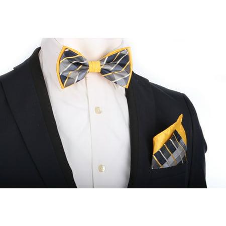 ab43416e38ce Enimay - Mens Formal Event Dress TwoTone PreTied Adjustable Bowtie  Hankerchief Set Black Gold Plaid One Size - Walmart.com