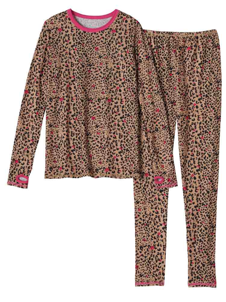 Cuddl Duds Chill Chasers Girls Leopard Print Thermal Underwear Base Layer