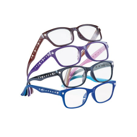 Cute Stylish Rhinestone Reading Glasses for Women, 4 ct., 3.5, (Polarised Glass Meaning)