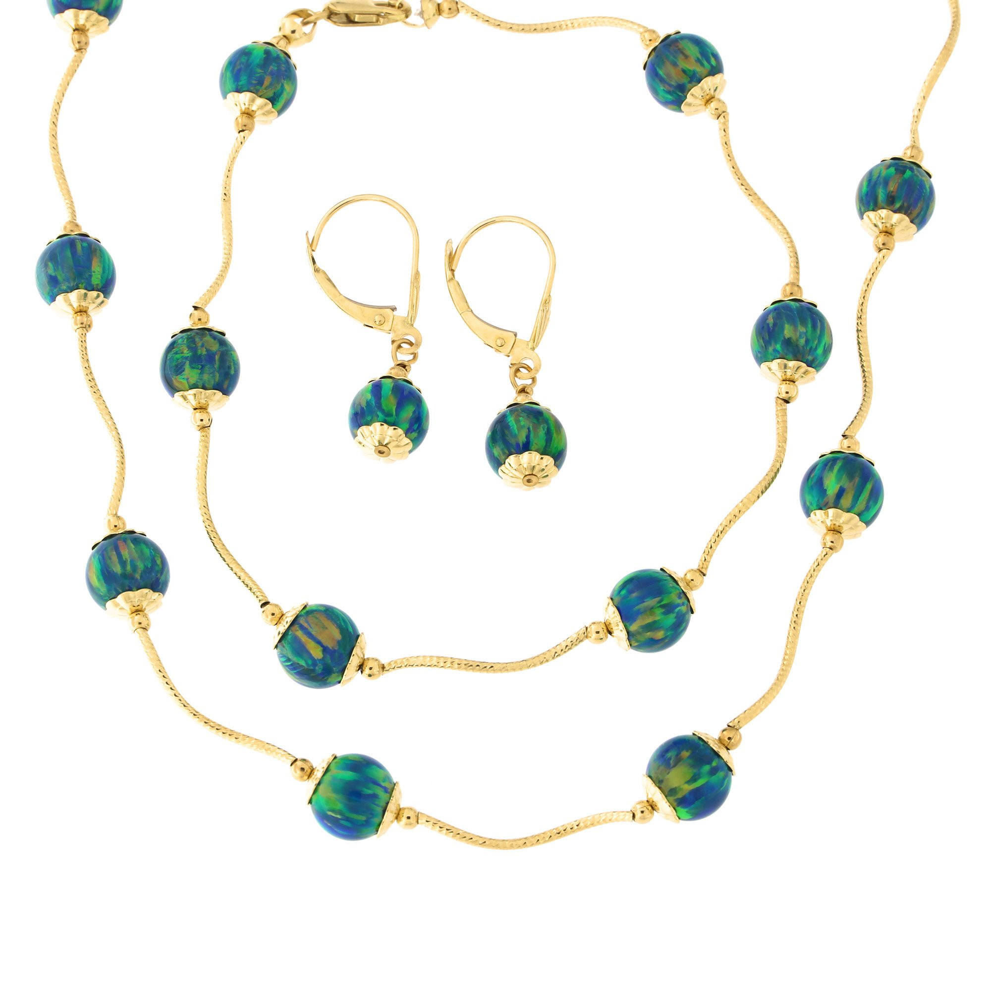 14k Yellow Gold Diamond Cut Capped Simulated Green Opal Station Necklace, Earrings and Bracelet Set by
