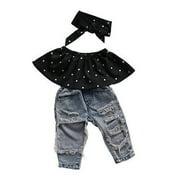 Infant Baby Kids Toddler Girls Dot Sleeveless Tops Hole Denim Long Pants Summer Cotton Girl Headband 3pcs Clothes Set 0-3 Years
