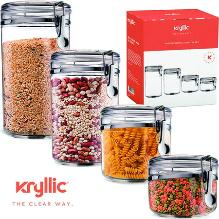 Food Storage containers canister set - Cereal Container Air Tight Canisters with lids for the dry flour coffee rice acrylic plastic clear glass airtight cannister sets for kitchen Clear Flat Square Lid