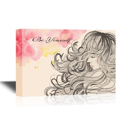 - wall26 Hair Style Canvas Wall Art - Woman with Long Curly Hair Be Yourself - Gallery Wrap Barber Shop Wall Decoration | Ready to Hang - 12x18 inches