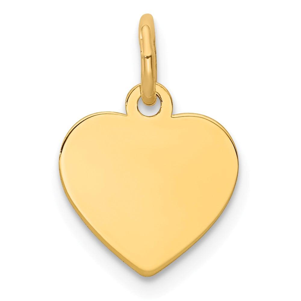 14k Yellow Gold Plain 0.009 Gauge Engravable Heart Disc Charm (0.6in long x 0.4in wide)