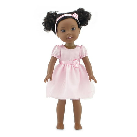 Emily Rose 14 Inch Doll Clothes | Beautiful Pink Party Doll Dress, Includes Matching Rosette Headband | Fits 14