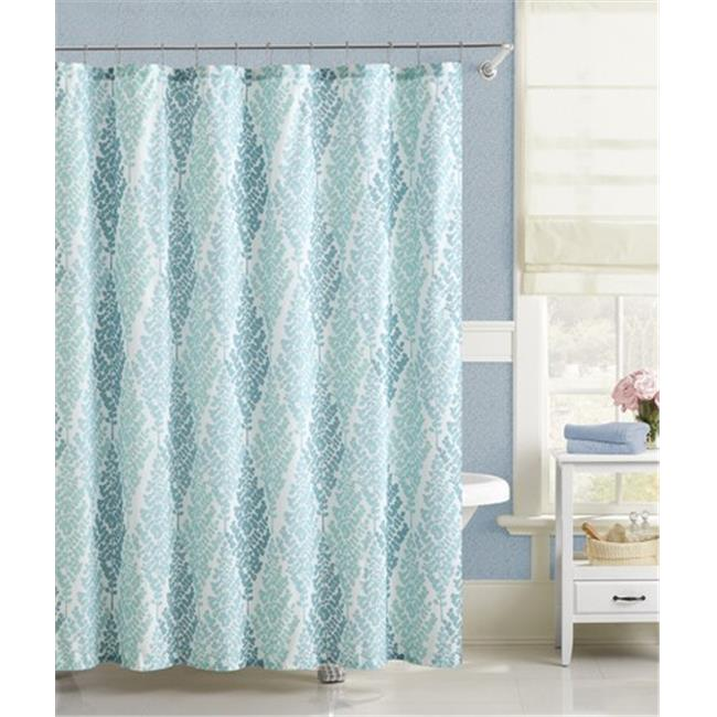 Luxury Home Magnolia Shower Curtain, Blue - 72 x 72 inch