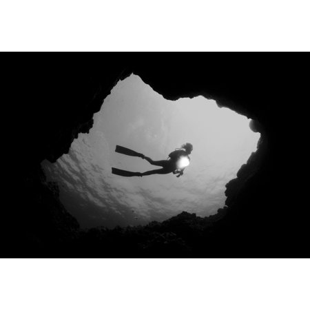 Hawaii Big Island Kona Diver With Flashlight Framed By Cavern Entrance (Black And White Photograph) (Frame Kona)
