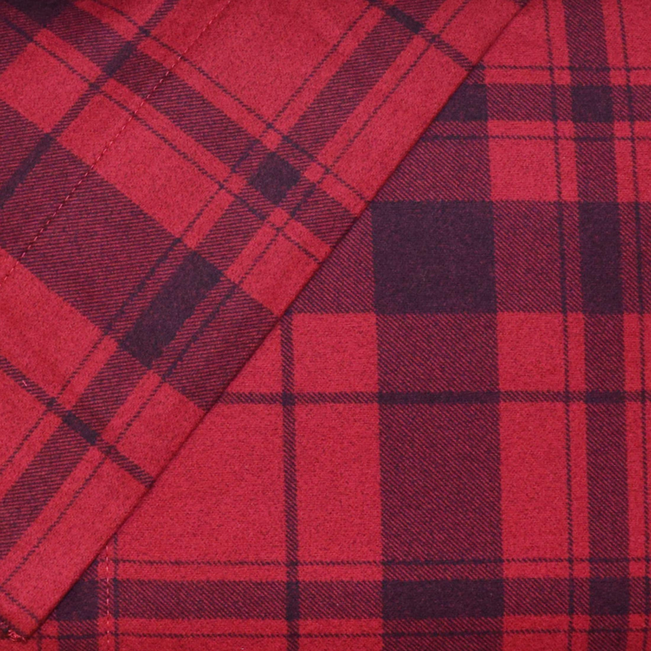 Cuddl Duds Heavyweight Cotton Flannel Gray Red Plaid Queen Sheet Set New