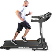 Famistar W500C Electric Folding Treadmill with Heart Pulse System/ Low Noise Electric Running Training Fitness Treadmill - Built-in MP3 Speaker, LED Display, 12 Preset Programs, 2 Knee Straps As Gift