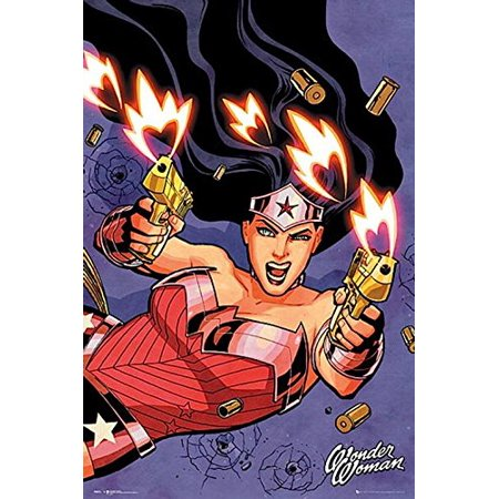 Wonder Woman Shooting Dc Comics 36X24 Tv Movies Art Print Poster Guns