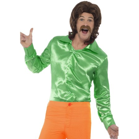 Mens 60s 70s Groovy Dude Green Disco Shirt Costume - 60s 70s Outfits