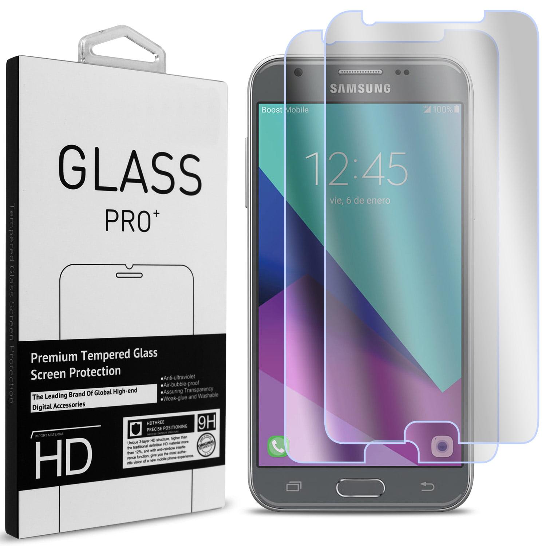 2 Pack of CoverON Samsung Galaxy J3 Emerge / J3 2017 / Amp Prime 2 / J3 Prime Tempered Glass Screen Protectors - Premium Grade 9H Tough - HD Clear