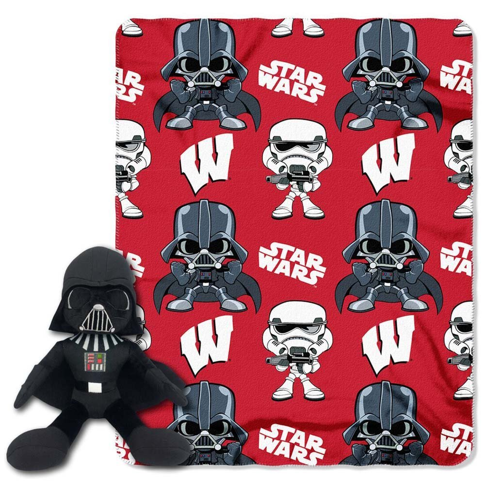 Wisconsin Badgers Star Wars Darth Vader Character and Throw Set