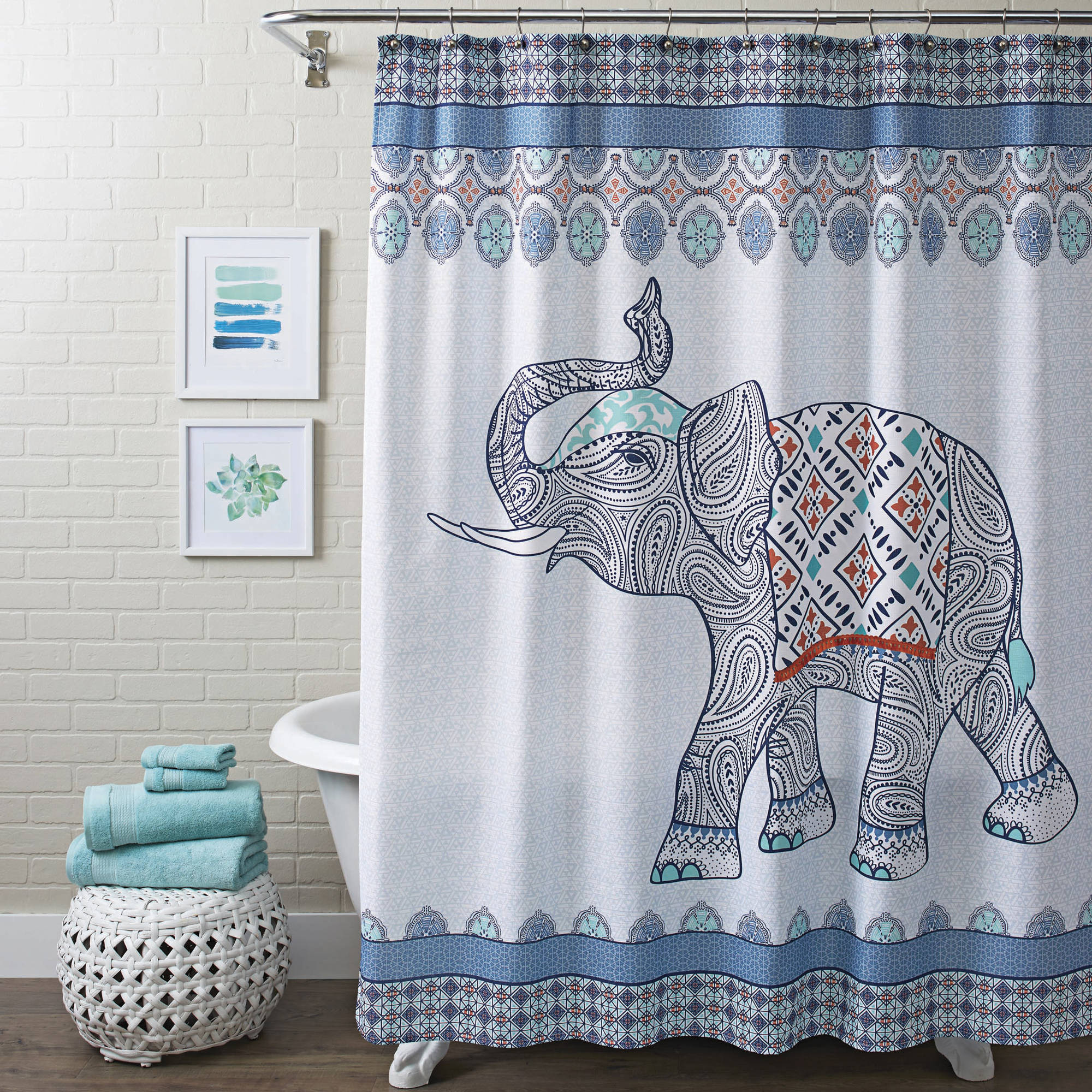 Bathroom curtains from walmart - Better Homes And Gardens Global Elephant Shower Curtain Multiple Colors