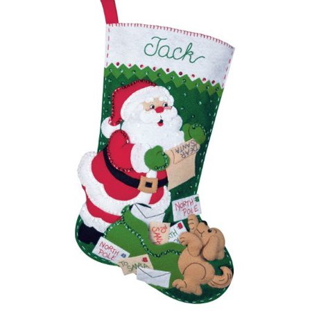 Christmas Stocking Kit.Felt Applique Christmas Stocking Kit Letters To Santa Very Detailed Bucilla Stocking Kit With Cute Embellishments By Bucilla